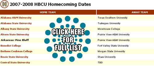 HBCU HomeComing Schedules